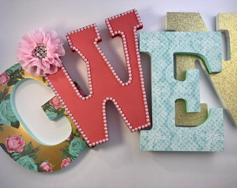Girls Nursery Letters in Mint, Coral and Pink - Ivory Rose Studio
