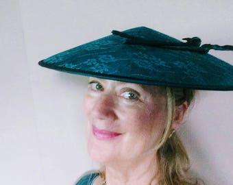 Women's Asian Inspired Formal Hat Taffeta n Lace Coolie Hat Komater Sisters Design Hat