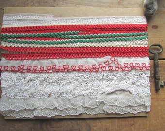 Lace and Trim Collection Vintage Red and White Sewing Ribbon