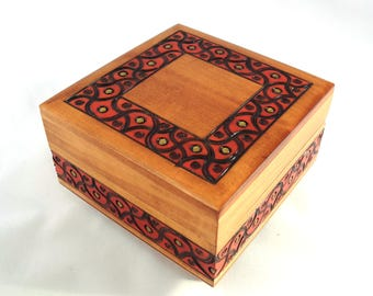 Handmade Wooden Secret Box/ Puzzle Box/ Trick Box/ Jewellery Box/ Keepsake Box / Trinket Box/ Lockable Wooden Box/ Secret Opening