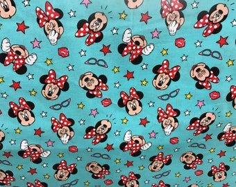 Disney kisses & stars Minnie Mouse fabric, Disney fabric, Minnie fabric, kids fabric, cartoon fabric, cotton fabric