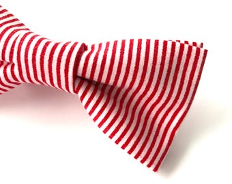 Red Stripe Bow tie, Red Striped Bowtie, White Stripe Bow tie, Men's Red Stripe Bow tie, Red and White Bowtie, Nautical Bow tie, Red Bowtie