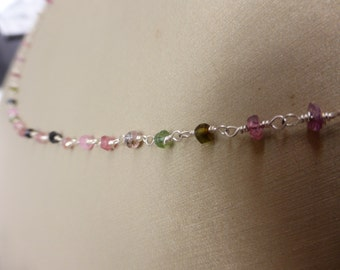 Delicate Faceted Tourmaline Necklace, Watermelon Tourmaline, Pink Tourmaline, Green Tourmaline, Sterling Silver, Elegant, Dainty, Minimalist