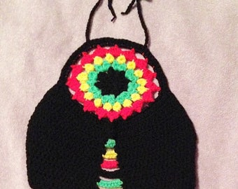 Crochet Rasta Lotus Halter Top in Sizes Xs, Small, Medium, Large & XL