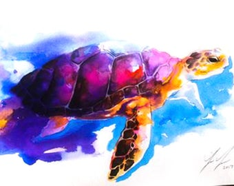 Sea Turtle, Painting, Watercolor, Art, Poster, Print, Hmong, Pastel