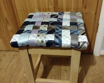 Up-cycled wood and fabric woven stool