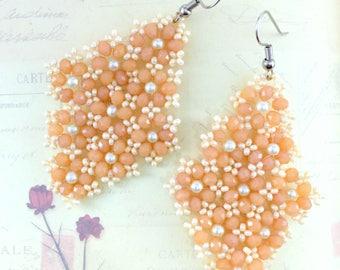 Floral Earrings,Beaded Earrings,Crystal Earrings,Pearl Earrings,Beadwork Earrings,Stitched Earrings,Orange Earrings,Gift For Her