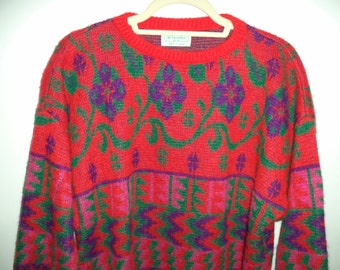 Vintage Benetton sweater// 1980's soft bright kitch hipster knit pullover Italy 80s// Women's size small medium and large