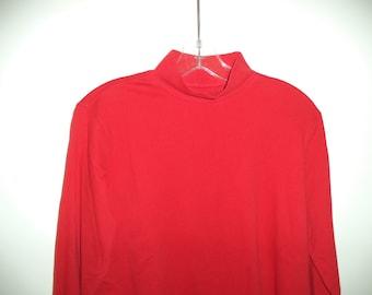 90s mock neck turtleneck top// Red minimalist basic pullover unisex shirt// Vintage Lands End// Women medium, men small