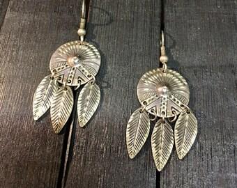 Vintage Navajo Sterling Silver Earrings  #108