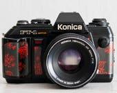 Konica FT-1 Motor - functional vintage 35 mm film analog SLR camera, 50mm f:1.8 lens, Lens cap, Neckstrap, Genuine leather, New lightseals!