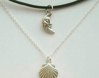 Set of 2 - Moon Choker and Seashell Necklace
