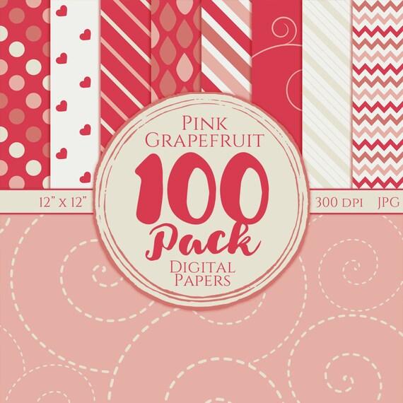 Digital Paper 100 Pack - Pink Grapefruit - Commercial Use, Grapefruit Digital Patterns