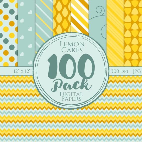 Digital Paper 100 Pack - Lemon Cakes - Commercial Use, Lemon Digital Patterns, Yellow, Powder blue
