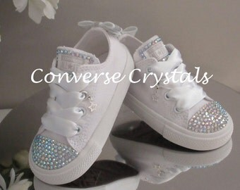 Girls Custom Crystal  Toes, Tongue and Bow  Backs *Bling* Converse  Infant Sizes 2-10. Various Options available.