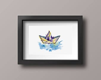 Hand Drawn Paper Boat Illustration Print, Watercolor Origami Art Decoration