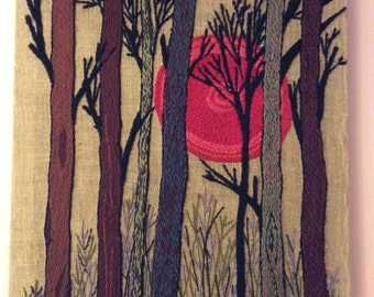 Vintage Crewel Art, 70s, Fall, Winter Forest, Trees, Sun (B101)