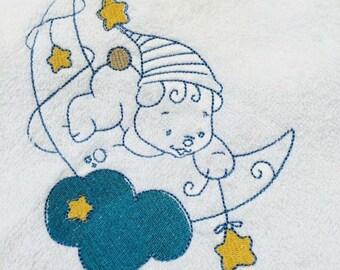 Personalised baby hooded towel, Teddy on the moon.