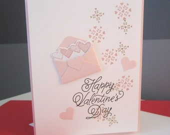 Valentine's Day Card: Pink and White, Handmade Card, Stampin Up, Card with Hearts, Card for him, card for her