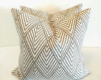 Chevron pillow, taupe and Ivory, Kravet pillow cover, Chevron throw cushion, geometric pillow cover, modern, designer pillow, modern decor,