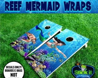 "Mermaid Cornhole Decal - Underwater Ocean Decal - Sea Turtle Decal - Blue Tang Fish Aquarium - Reef Life Cornhole Wrap Set (2) 24"" x 48"""