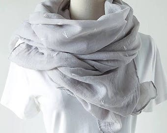 Grey Cotton Scarf - scarf, shawl, grey shawl, grey pashmina, pastel scarf, woman's scarf, summer scarf, infinity scarf, gift for woman