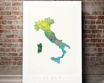 Italy Map - Country Map of Italy - Art Print Watercolor Illustration Wall Art Home Decor Gift  Embossed PRINT