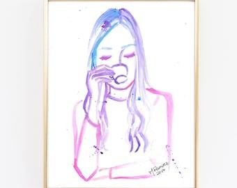 Coffee Art Print, Girly Art, Chic Art, Fashion Art Print, Watercolor Print, Purple, Pink, But First Coffee, Coffee Art, Girl room decoration