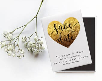 Save the Date Wedding Magnet -  Gold Heart