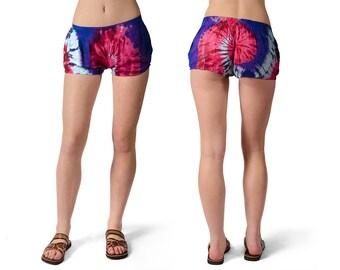 Tie-Dye Shorty Shorts - Blue Red Multi - 4482B