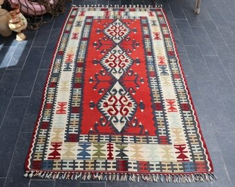 Turkish Kilim Rug, Aztec Kilim Rug, Antique Kilim Rug, FREE SHIPPING Anatolian Kilim Rug, Pastel Color Kilim  3.5 X 6.2, No 337