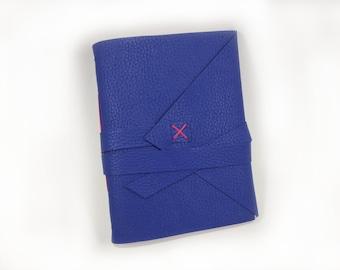 Vegan Leather Handbound Journal - Royal Blue with Hot Pink thread -  Travel Journal - Sketchbook - Notebook