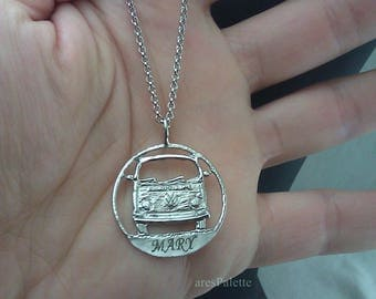 Volkswagen T 2 Bus Customized Necklace - 925 Silver / Handmade Free Shipping and special gifts