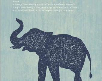 Elephant Modern Art Print, Safari Series, Instant Download, Printable