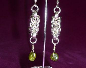 Byzantine Weave Earrings with Green Peridot Gemstones