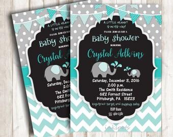 Boy Baby Shower Invitation Elephant Baby Shower Invitation Jungle Invitation Elephant Invitation Its a Boy Invitation Safari Invite BBEL02