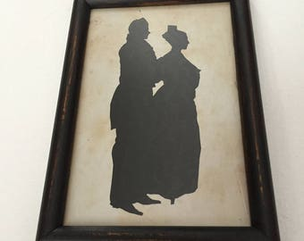 Primitive Antique Reproduction Silhouette of a Husband and Wife Standing