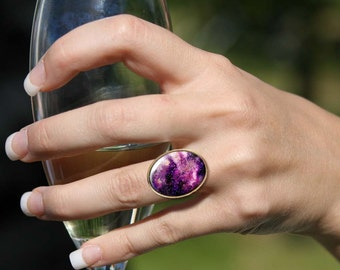Nebula ring, Cocktail ring, Solitaire ring, Gypsy rings, Bohemian jewelry, Purple ring, Adjustable rings for women, 5095-1