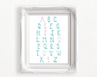 ABC Educational Art Alphabet Print Nursery Poster Printable Alphabet Poster Blue and Pink Alphabet Letters Baby Gift DIY Digital Download