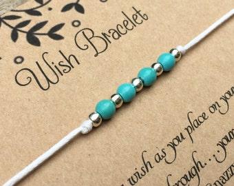 Turquoise Beaded Wish Bracelet, Make a wish Bracelet, Beaded Bracelet, Beadded Bracelet, Wish Bracelet, Turquoise Beads, Friendship Bracelet