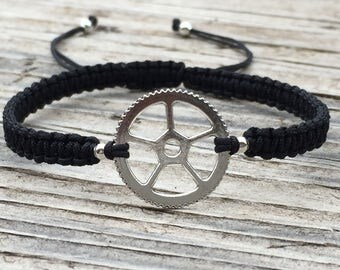 Gear Bracelet, Gear Anklet, Cord Macrame Friendship Bracelet, Macrame Jewelry, Gift for Her, Steampunk Bracelet, Steampunk Jewelry