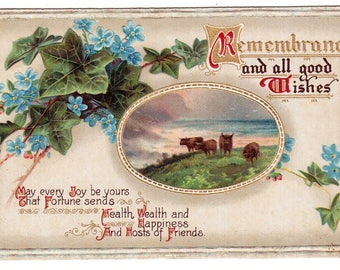 Antique 1910 Remembrance and all good wishes & poem embossed victorian postcard