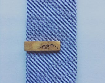 Olive Wood Skinny Tie Clip with Mountains - skinny tie - skinny tie clip - wooden tie clip - wood tie clip - tie clip