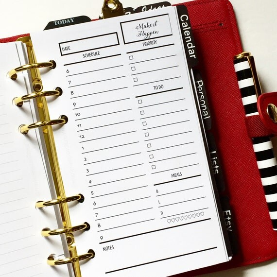 Day On One Page Printed Personal Size Planner Inserts