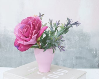 Soft Pink Rose in Vase - Everlasting rose - Real touch Rose - Rose Bouquet - silk bouquet - Silk flowers in vase - Bedroom flowers in vase