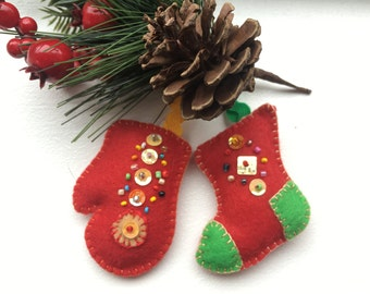 Felt christmas tree ornaments-Red Christmas ornaments-Stocking ornament-Hanging ornament-Christmas stocking-Felt mitten ornament