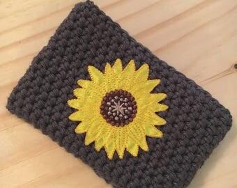 Crochet cup sleeve, coffee cosy, coffee/tea sleeve, sunflower cosy, summer cozy, cup sleeve
