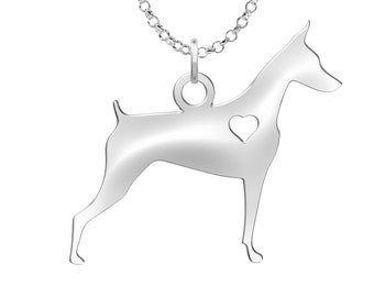 Doberman Dog Necklace | Solid Sterling Silver | Doberman Silhouette Charm | Personalized Dog Jewelry | Dog Pendant | Doberman Earrings