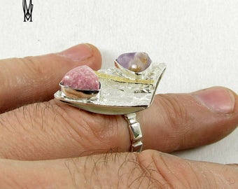 Sterling Silver 925 Handmade Ring with goldplated elements, pink rhodonit and amethyst