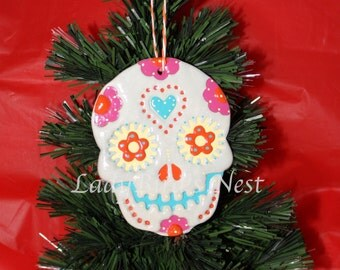 Day of the Dead Christmas, Holiday, Clay Ornament, Decoration, Handmade